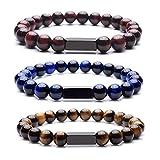 Personalized Master Free Engraving Custom Mens Womens Natural Gemstone Distance Bracelets Round Beads Healing Crystal Stretch Bracelet Set