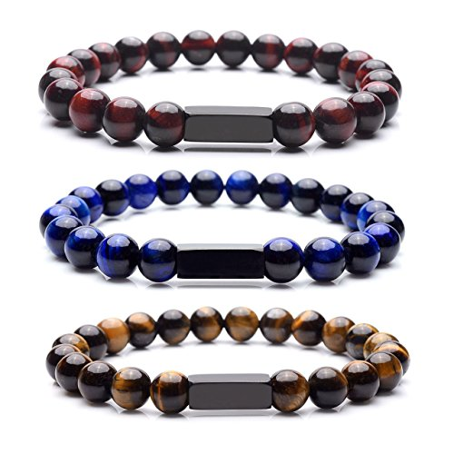 Personalized Master 3-4pcs 8mm 7 Chakra Natural Gemstones Healing Crystal Stretch Round Stone Beads Bracelet for Unisex Mens Womens+Gift Box (Miracle Natures People)