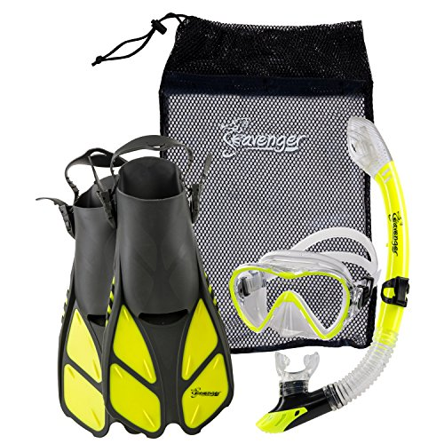 Seavenger Diving Dry Top Snorkel Set with Trek Fin, Single Lens Mask and Gear Bag, S/M - Size 4.5 to 8.5, Gray/Neon Yellow Aqualung Diving Gear