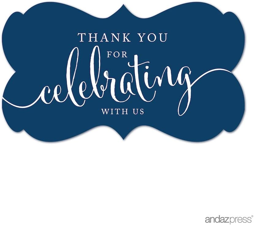 Andaz Press Fancy Frame Rectangular Label Stickers, Thank You for Celebrating with Us, Navy Blue, 36-Pack