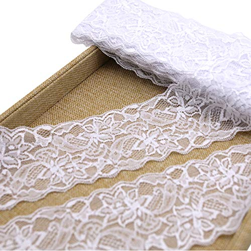 3 Inch Lace Ribbon, Floral Lace Trim, Elastic Lace for Crafts Rustic Wedding Decorations Hair Bow Making and Gift Wrapping (10 Yards) (Trim Lace Floral)