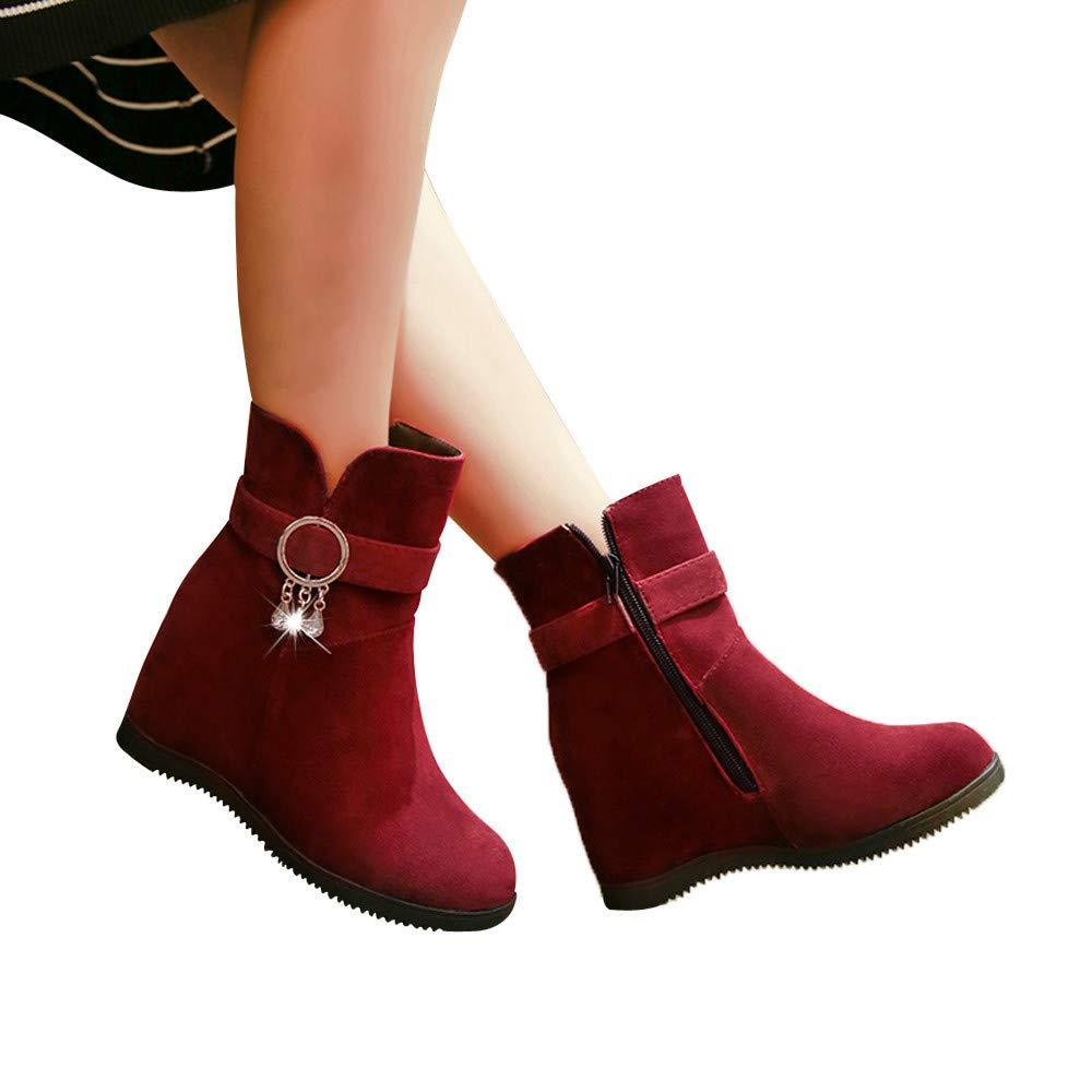 Robemon_Chaussures Femme Compensées Hiver Bottes Daim Court Bottines Automne Fille Doublure Chaude Neige Martin Sole Plat Boots
