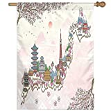 HUANGLING Japan Travel Poster With Sakura Tree Branches Blossoms Asian Journey Destination Home Flag Garden Flag Demonstrations Flag Family Party Flag Match Flag 27''x37''