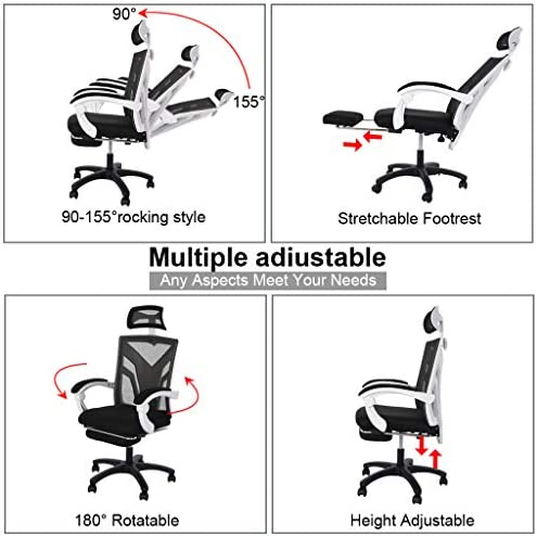 【US in Stock 7 Days Delivery】 Computer Chair Gaming Chair Racing Style Office Chair Adjustable Swivel Rocker Recliner High Back Ergonomic Computer Desk Chair with Footrest (1pc, Black) 51es5jQ9wSL