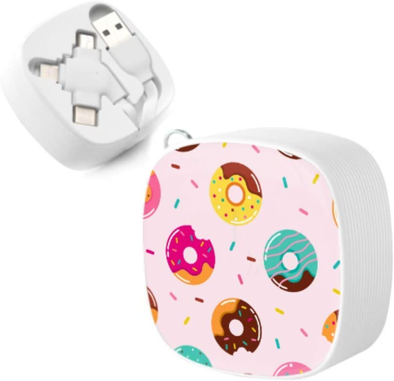 USB Charger Cable Fast Charge Sweets Delicious Cute Cake Donuts Multi 3 in 1 Retractable Charger USB Cable with Micro USB//Type C Compatible with Cell Phones Tablets and More