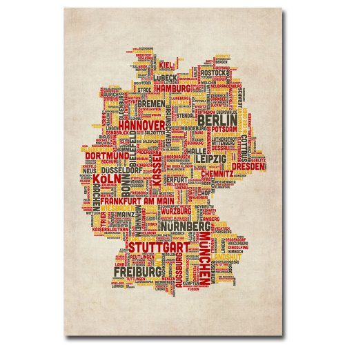 Germany Cities Text Map by Michael Tompsett, Canvas Wall Art