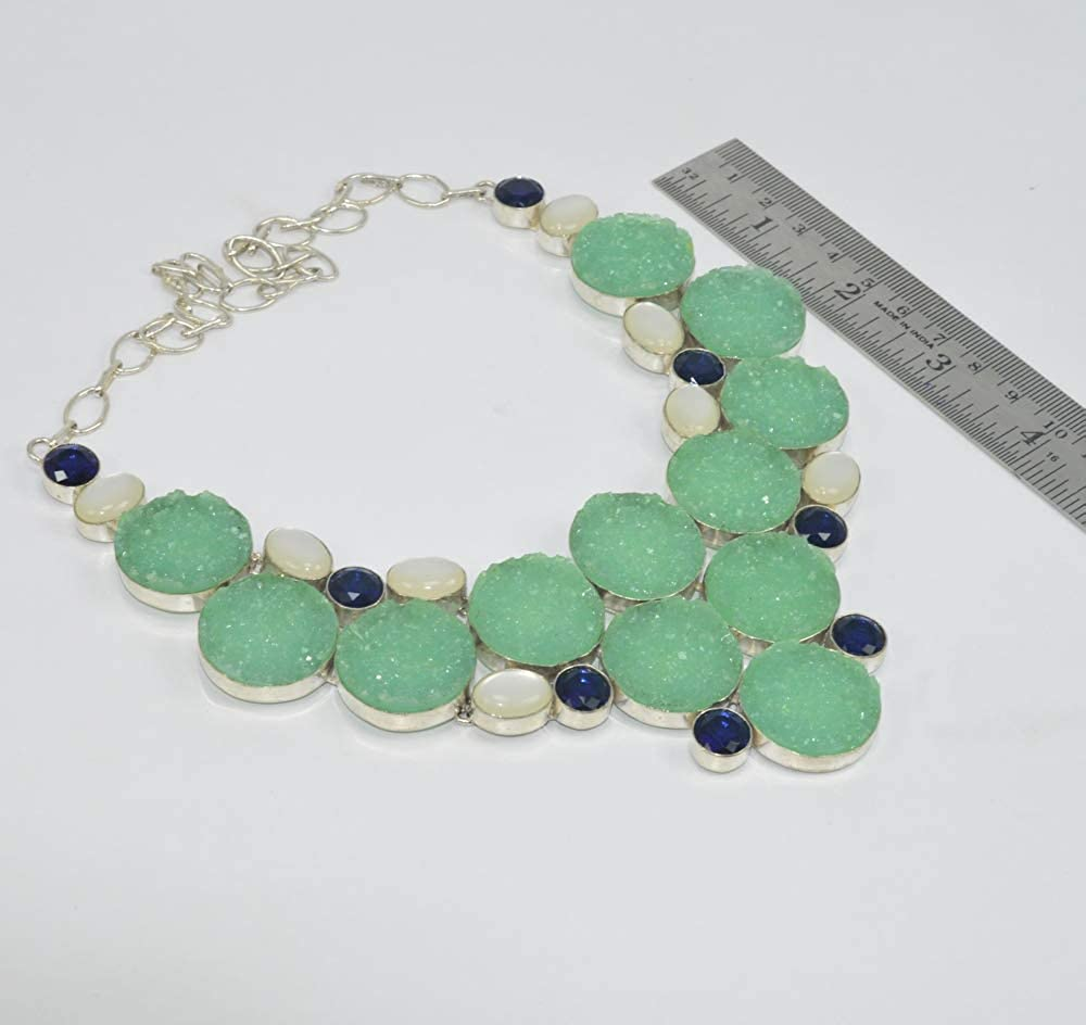 VICTORIANJEWELS 925 Silver Plated Green Titanium Druzy Mix Stone Necklace N157