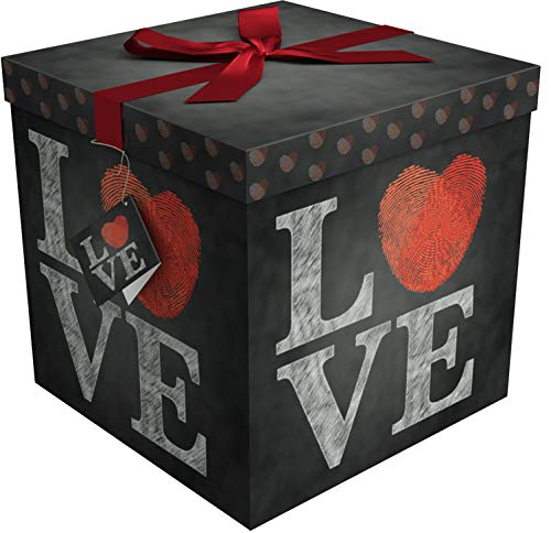Gift Box 12x12x12 Amrita Love Pop up in Seconds comes with Decorative Ribbon mounted on the lid A Gift Tag and Tissue Paper - No Glue or Tape Required -