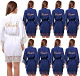 Set of 9 Women's Cotton Kimono Robes Wedding Party Gifts for bride and Bridesmaid with Lace Trim