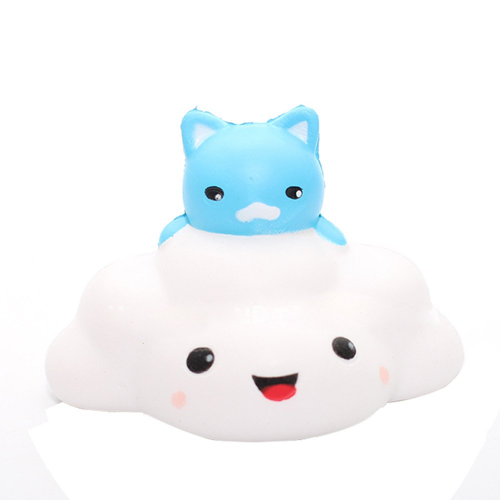 Squishy Toys Jumbo,Wugeshangmao Squishies Slow Rising Toys, Cute Cat Clouds Mochi Squeeze Toys,Stress Relief Toy Collection Gift Key Chains Home Decor Soft Creamy Scented Toys Kids Adults