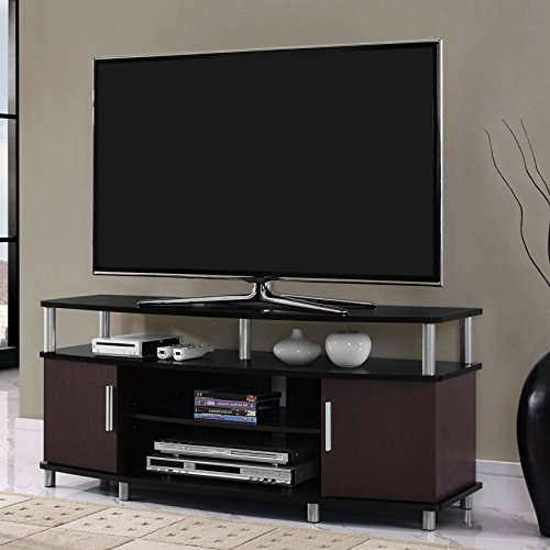 Adjustable Shelves Contemporary Style 50'' Black and Cherry TV Stand by Ameriw00d Home
