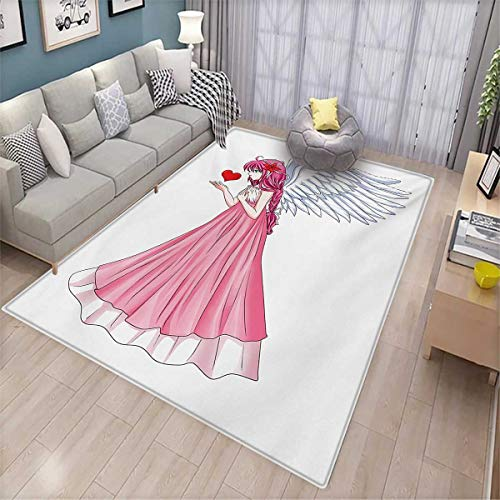 (Anime Girls Rooms Kids Rooms Nursery Decor Mats Fairytale Character Angel in a Pink Dress Holding a Heart Romantic Valentines Day Door Mat Indoors 6'6