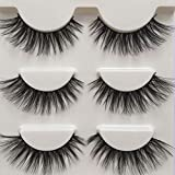 Imported Fiber 3D Mink False Eye lashes Handmade Reusable Long Cross Makeup Natural 3D Fake Thick Black EyeLashes 3 Pairs (3D-01)