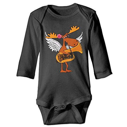 (Unisex Cotton Long Sleeve Funny Moose Playing Tuba Music Funny Newborn Baby Girls' Boys' Onesies Bodysuit 12 Months Romper)
