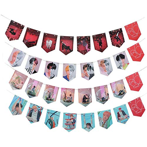 32 PCS Love Yourself 結 Answer Hanging Flag 4 PCS 2 Meter Banner for Home Decor Party Decoration and A.R.M.Y