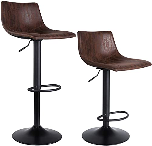SUPERJARE Set of 2 Bar Stools, Swivel Barstool Chairs with Back, Modern Pub Kitchen Counter Height, Retro Brown, Fabric