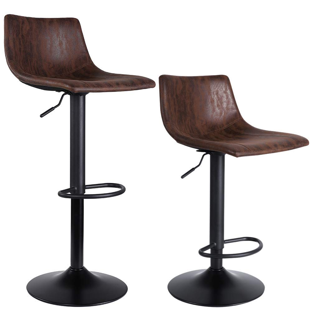 SUPERJARE Set of 2 Bar Stools, Swivel Barstool Chairs with Back, Modern Pub Kitchen Counter Height, Retro Brown