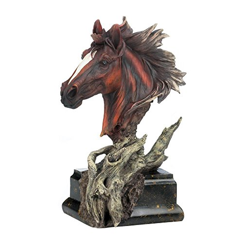 Horse Statue, Stallion Brown Head Horse Sculpture Decor Desk Art