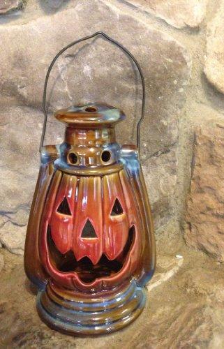 Fire Glazed Stoneware Pumpkin Lantern with Handle - Pumpkin Lantern