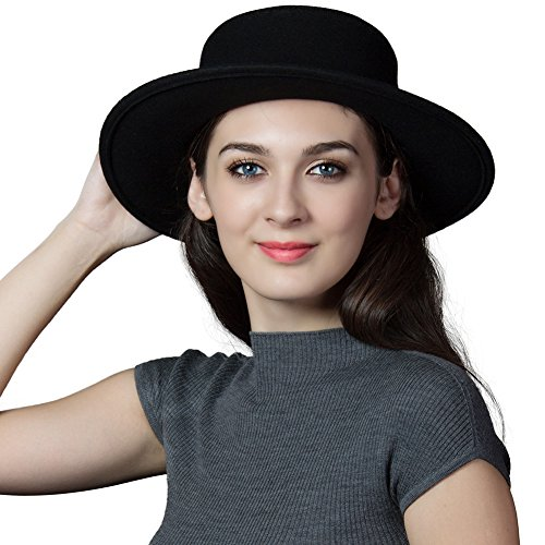 Siggi Womens 100% Wool Felt Hat Winter Panama Fedora Pork Pie Hats Bow Black (Felt Fedora Hats)