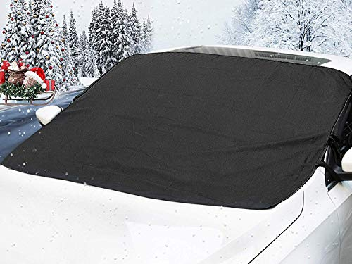 MATCC Car Windshield Snow Cover Magnetic Waterproof Ice Removal Winter Windshield Cover Sun Shade Lengthened Side Panels Snow Protection Cover Fits All Season Most Cars