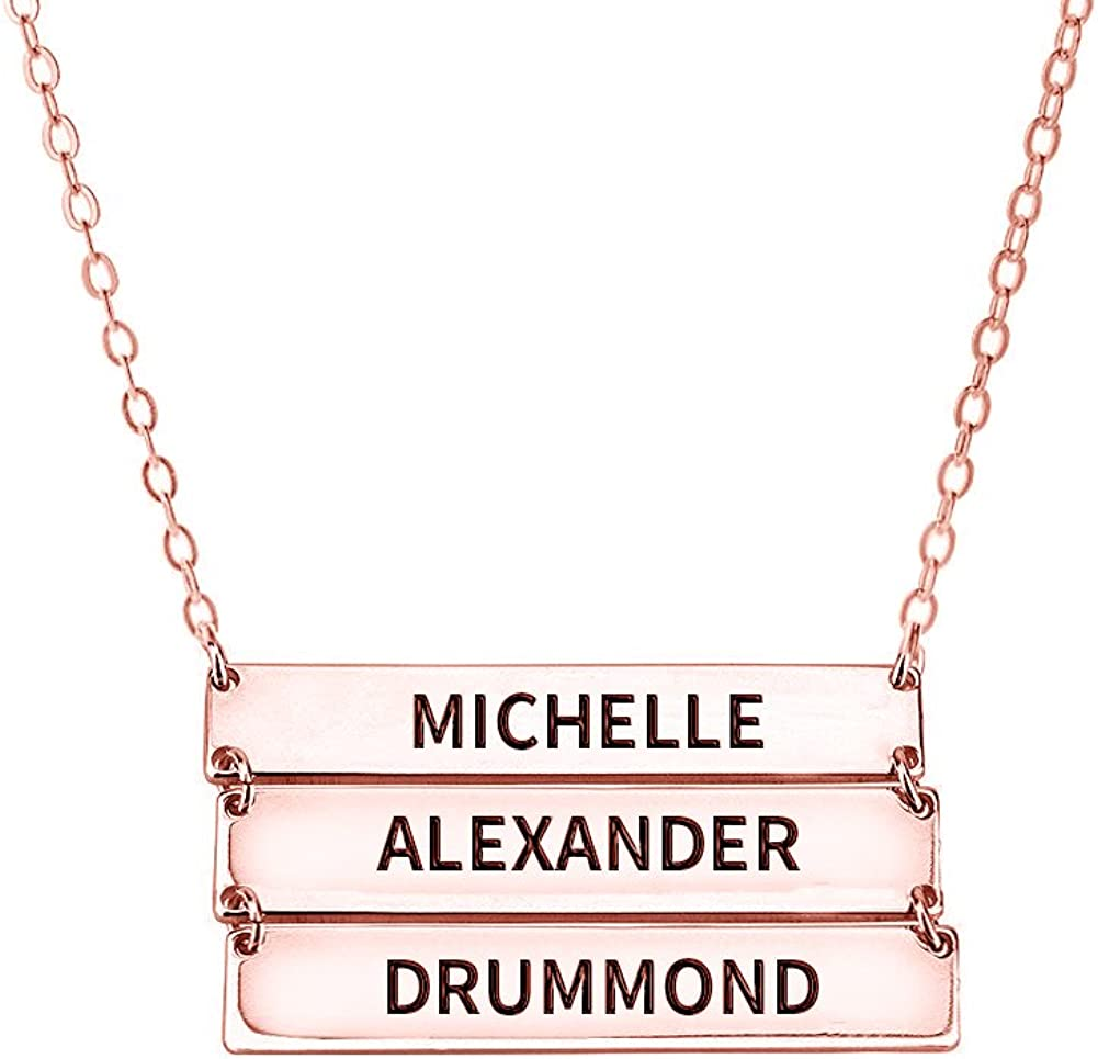 Ouslier 925 Sterling Silver Personalized Layered Bar Necklace for Family Custom Made with 3 Names