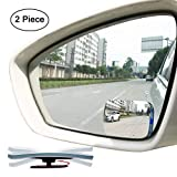 Slim Square 360 Degree Rotate + Sway Adjustabe Blind Spot Mirror, Ampper HD Glass Convex Wide Angle Rear View Car SUV Universal Fit Stick On Lens (Pack of 2)