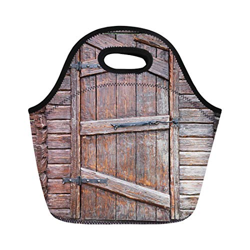 - Semtomn Lunch Tote Bag Brown Antique Wooden Door Wrought Iron Hinges and Hook Reusable Neoprene Insulated Thermal Outdoor Picnic Lunchbox for Men Women