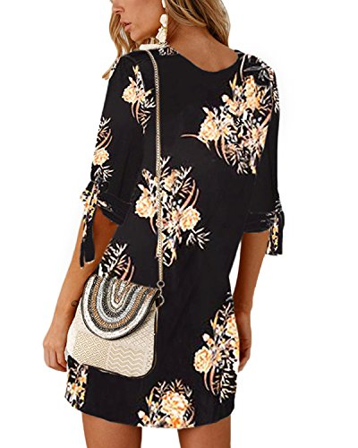 Shirt Tunics Blouse Crew Women YOINS Sleeves Neck Summer tie Half Mini Self T Dresses Dresses Black03 Solid 6pXXzwq