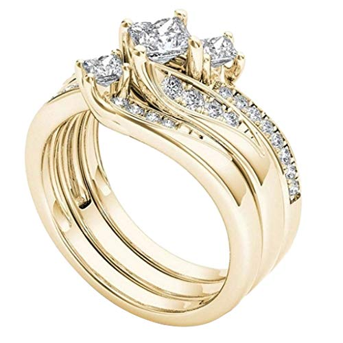 Wedding Ring for Women – Yezijin Rose Gold Diamond Ring Natural White Romantic Wedding Jewelry