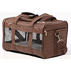 By-Sherpa Small Pet Carrier, Small Brown Puppy Animal Travel Backseat Dog Carrier Small