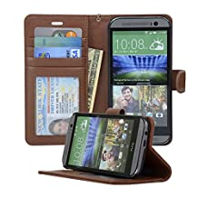 Navor Folio Leather Wallet Case for HTC One M8 With Removable Strap (Brown)