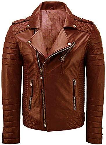 III-Fashions Mens Purple Quilted Vintage Motorcycle Genuine Lambskin Biker Leather Jacket