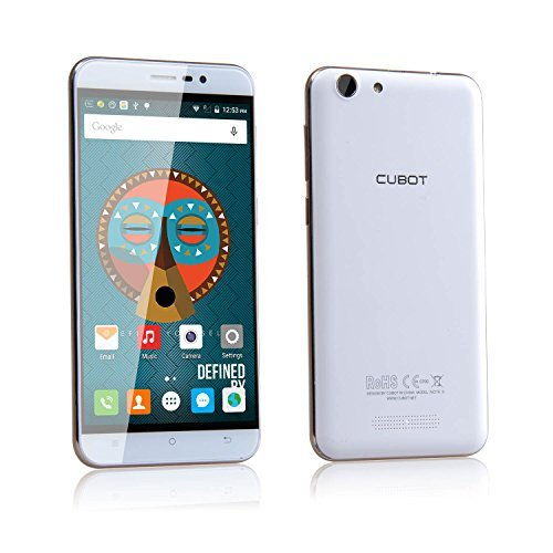 Cubot Note S Smartphone 5.5 Zoll HD Touch-Display mit 4150mAh, 2GB RAM/16GB ROM, Android 5.1, Dual SIM Karten, Quad-Core Prozessor, 1.3GHz, Dual-LED Kameras mit 178° Betrachtungswinkel, 5MP/8MP, kein Sim-Lock Handy für T-mobile, Vodafone, O2, E-Plus usw (Schneeweiß)