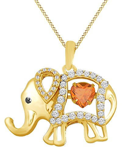 AFFY Round Cut Cubic Zirconia Elephant Floater Pendant Necklace in 14K Yellow Gold Over Sterling Silver -