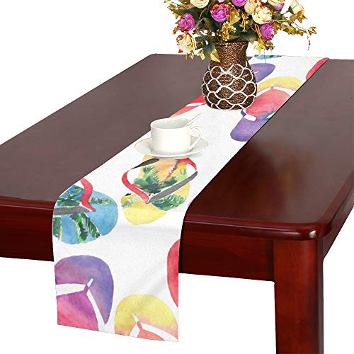 YUMOING Beautiful Bright Comfort Summer Pattern of Beach B Table Runner, Kitchen Dining Table Runner 16 X 72 Inch for Dinner Parties, Events, Decor]()