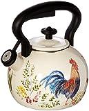 Paula Deen Signature Tea Kettles Enamel on Steel Tea Kettle, 2 quart, Garden Rooster