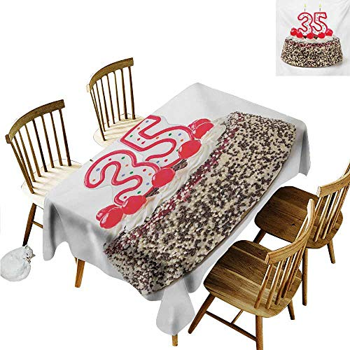 Xlcsomf Decorative Long Tablecloth 35th Birthday Wrinkle-Free Round Tablecloth Gourmet Dessert Cherry Cake Pie for Party Special Day Age Thirthy Five Red Brown White,W54 xL72