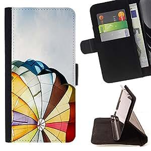 BullDog Case - FOR/Sony Xperia M2 / - / Hot Air Balloon /- Monedero de cuero de la PU Llevar cubierta de la caja con el ID Credit Card Slots Flip funda de cuer