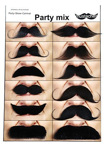 Mustaches for every occasion 12 party mix (Quality Fake Moustache)