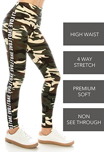 ALWAYS Legging Women Track Pants - Premium Soft Stretch Buttery Camo Print Love Elastic Band 57 One Size by ALWAYS (Image #8)