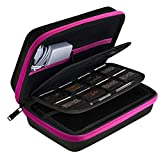 AUSTOR Travel Carrying Case Shell for Nintendo New 3DS XL (Black+Rose)
