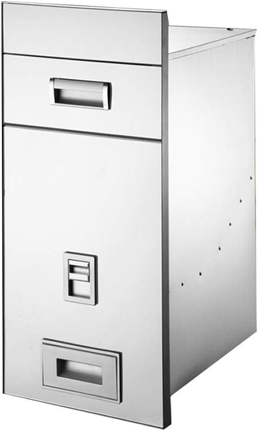 米びつ 穀物容器 インラインステンレス鋼米シリンダ家庭 20キロ米収納ボックス 防湿シール (Color : Silver, Size : 30*41*65cm)