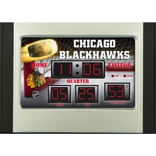 Team Sports America Chicago Blackhawks Scoreboard Style Desk Clock & Thermometer -