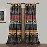 2 Piece 84 Inch Multi Color Black Bear Moose Lodge Curtain Panel Pair Set, Wildlife Pattern Hunting Themed Log Cabin Cottage Lodge Outdoors Nature Mountains Pine Tree Tiebacks, Polyester