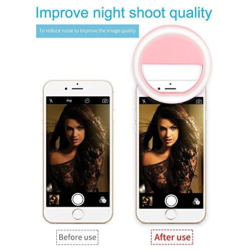 hot sale 2017 Huayue Selfie Ring Light, Rechargeable Battery LED Flash 3-Level Brightness Mini Camera Light Clip for Smartphone,Tablet,Ipad,Laptop,Camera (Pink)