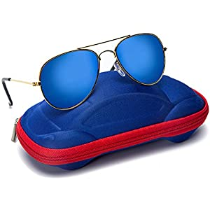Kids Junior Aviator Classic Sunglasses Metal Frame Reflective Lenses By Comcl (Blue Flash, 52)