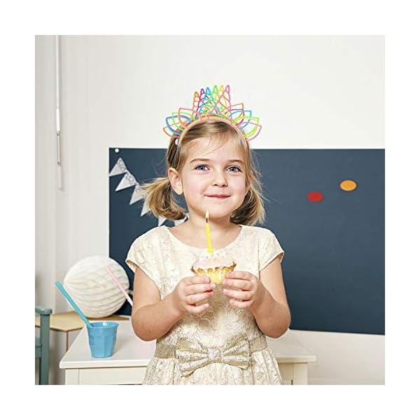 CXWILL Unicorn Headbands 30 Pcs Plastic Unicorn Hairbands for Girls Party Favors (6 Colors) 5