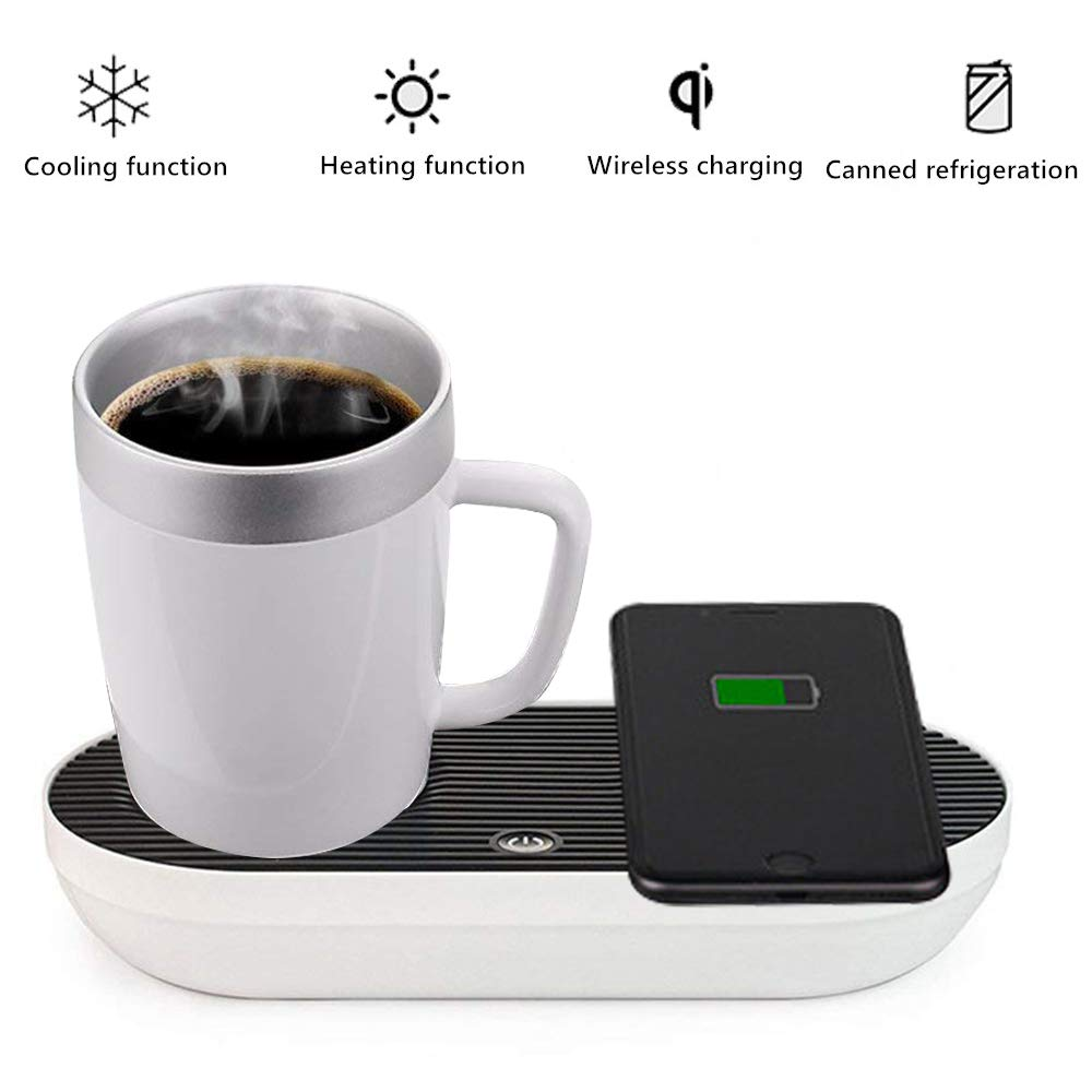 Desktop Smart Coaster Beverage Heating and Cooling Mobile Phone Wireless Charging 3 in 1 Summer Frozen Mini Refrigerator Winter Insulated Hot Drink,USregulations by San Qing