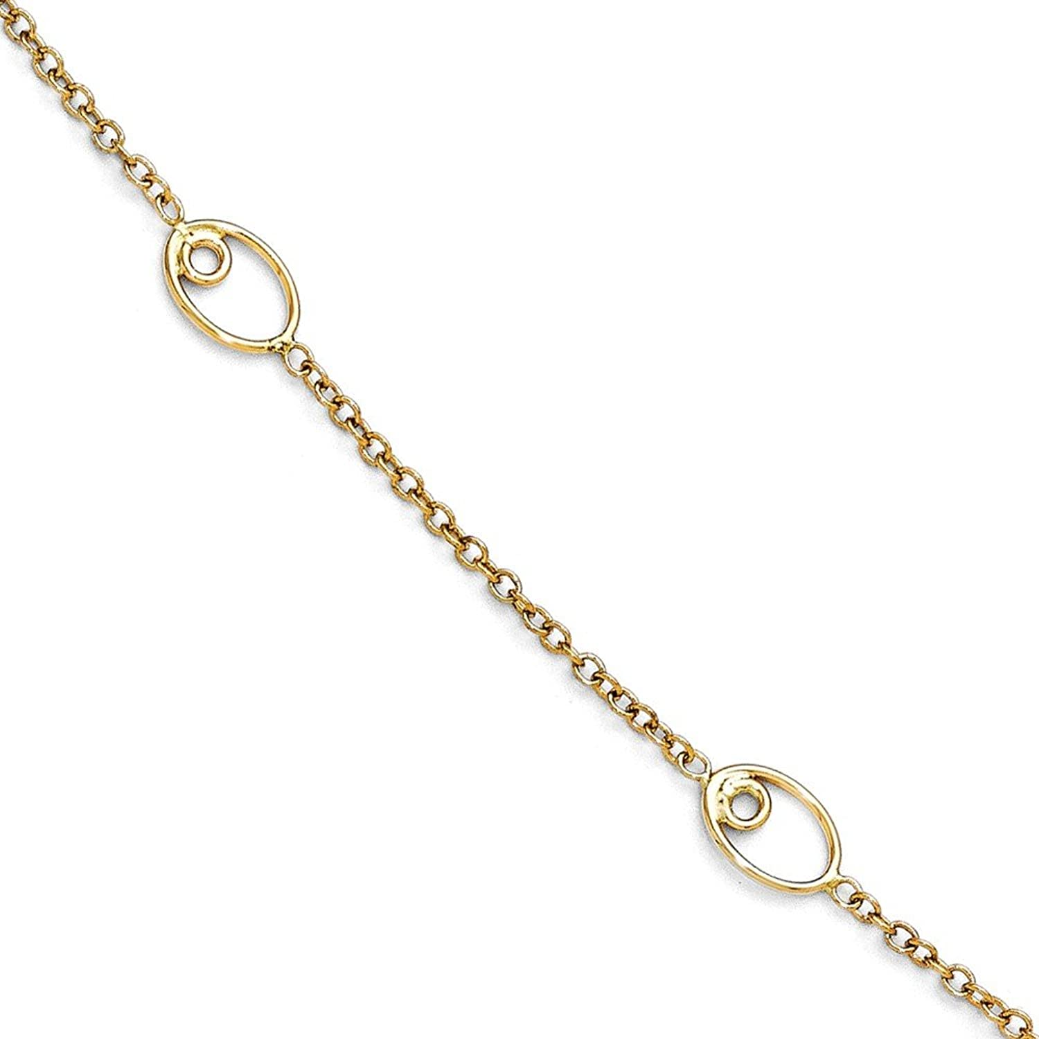 14k Yellow Gold Polished Anklet With 1inch Ext - 10 Inch